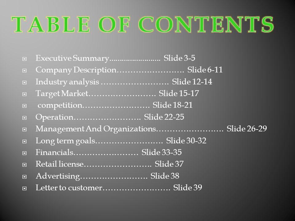 Executive Summary......................... Slide 3-5 Company Description……………………. Slide 6-11 Industry analysis ……………………. Slide 12-14 Target Market…………
