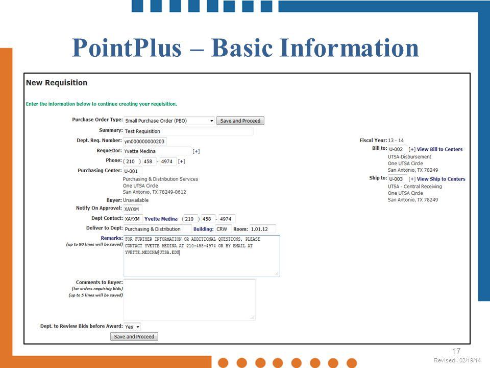 PointPlus – Basic Information 17 Revised - 02/19/14