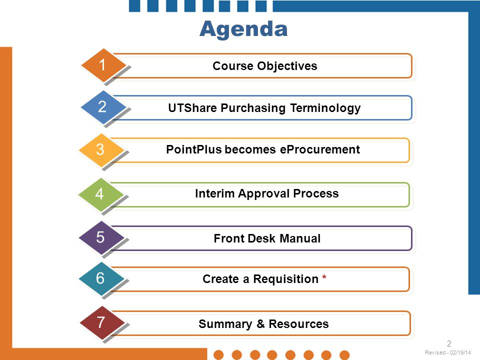 2 Agenda Create a Requisition * 7 UTShare Purchasing Terminology 23 PointPlus becomes eProcurement 4 Interim Approval Process 5 Course Objectives 1 Fr