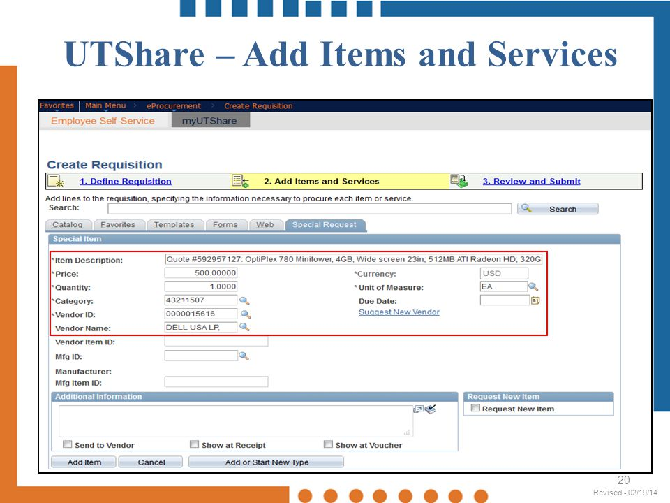 UTShare – Add Items and Services 20 Revised - 02/19/14