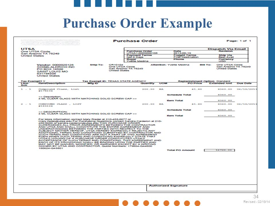 Purchase Order Example 34 Revised - 02/19/14