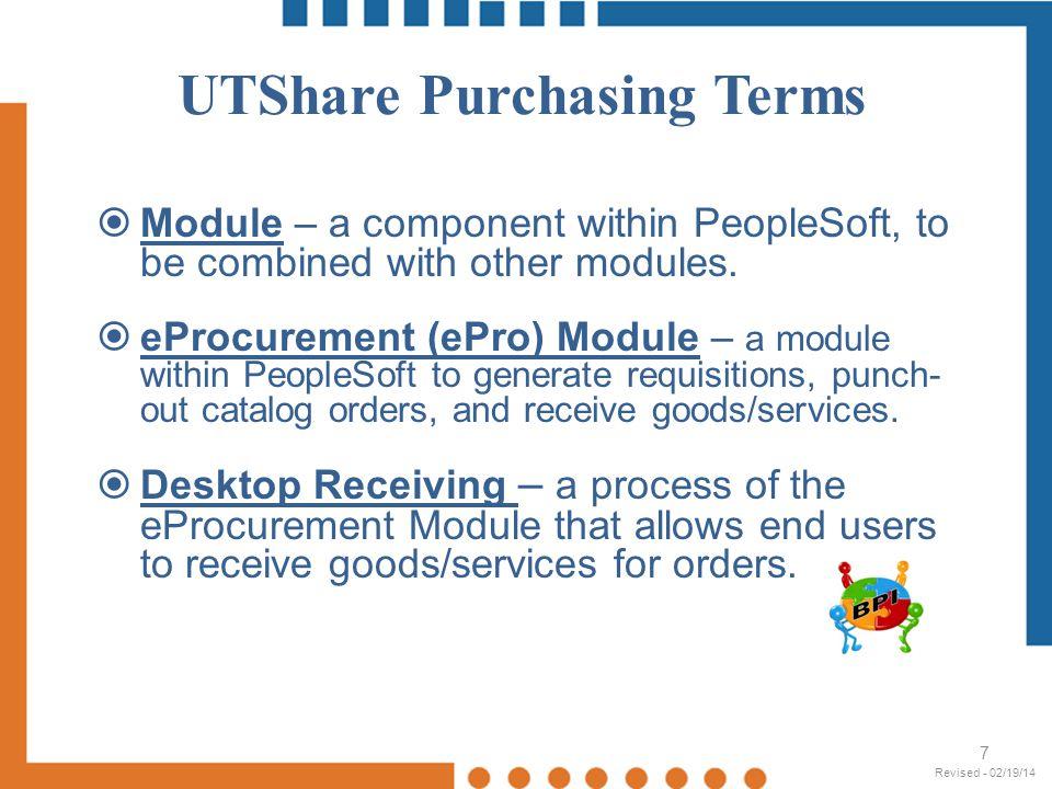 UTShare - Define Requisition 18 Revised - 02/19/14