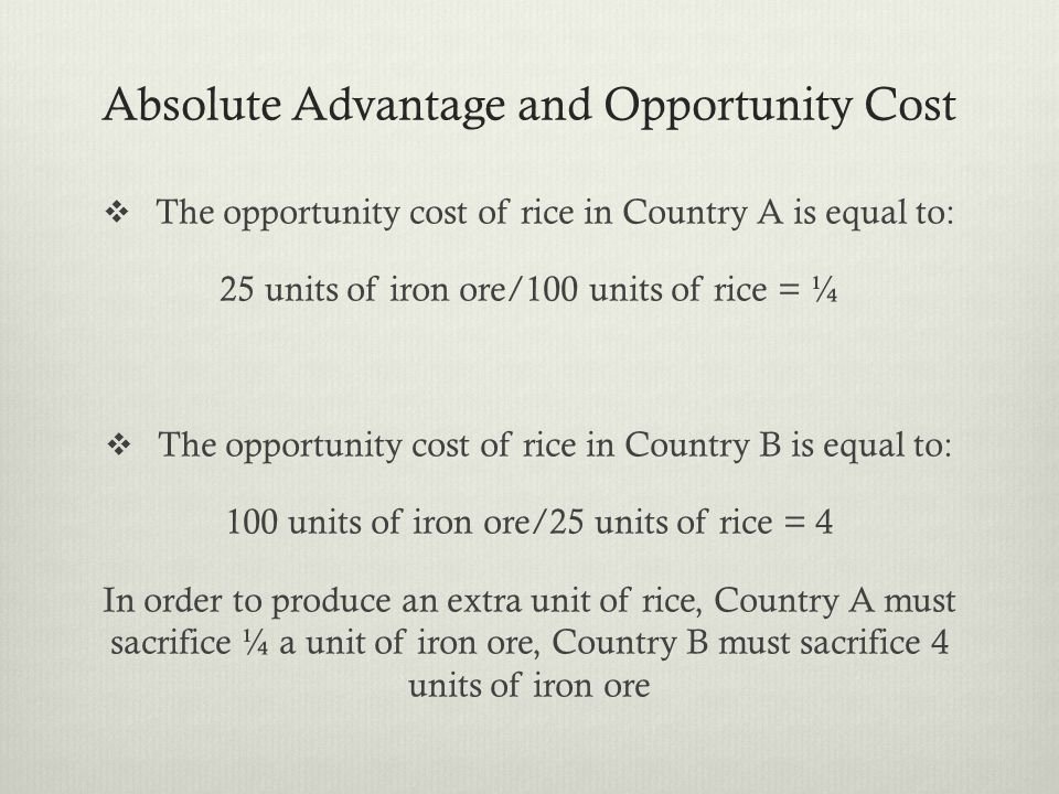 Absolute Advantage and Opportunity Cost The opportunity cost of rice in Country A is equal to: 25 units of iron ore/100 units of rice = ¼ The opportunity cost of rice in Country B is equal to: 100 units of iron ore/25 units of rice = 4 In order to produce an extra unit of rice, Country A must sacrifice ¼ a unit of iron ore, Country B must sacrifice 4 units of iron ore