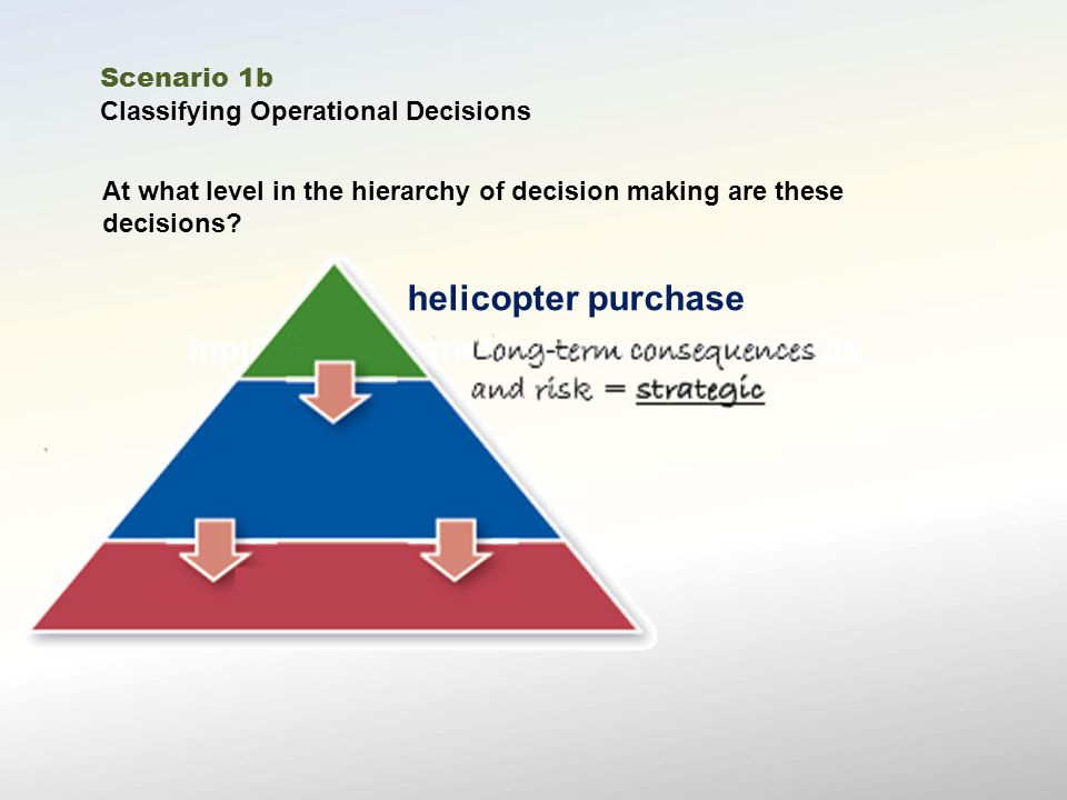 InputsTransformationOutputs At what level in the hierarchy of decision making are these decisions.