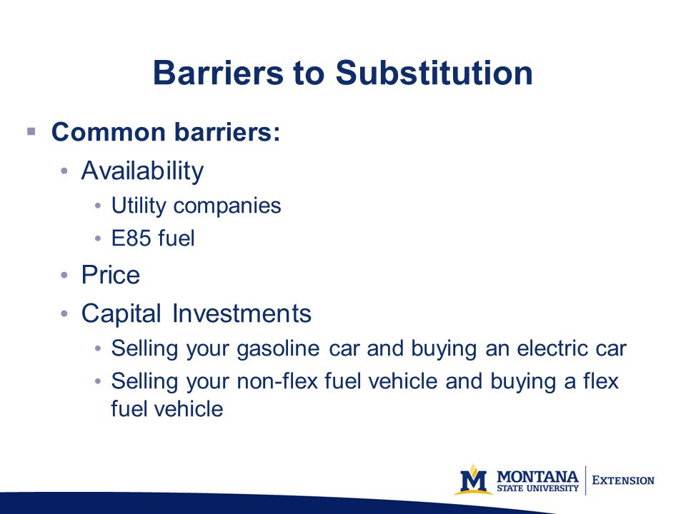Barriers to Substitution Common barriers: Availability Utility companies E85 fuel Price Capital Investments Selling your gasoline car and buying an electric car Selling your non-flex fuel vehicle and buying a flex fuel vehicle