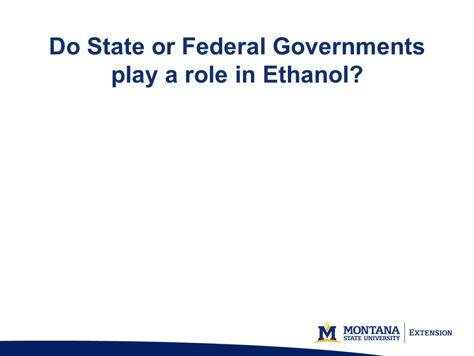 Do State or Federal Governments play a role in Ethanol?