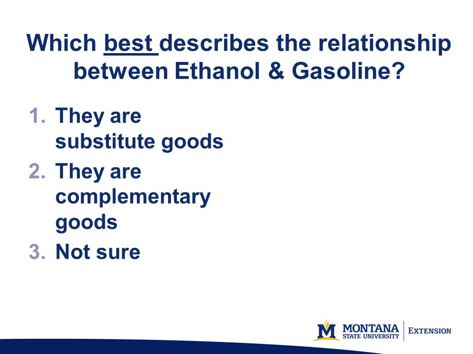 Which best describes the relationship between Ethanol & Gasoline.
