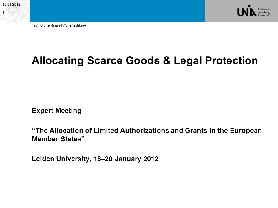 Allocating Scarce Goods & Legal Protection BIPOLAR STATE – CITIZEN PARADIGM MULTIPOLAR ALLO- CATION CONFLICT 19.01.2012 2 Prof.
