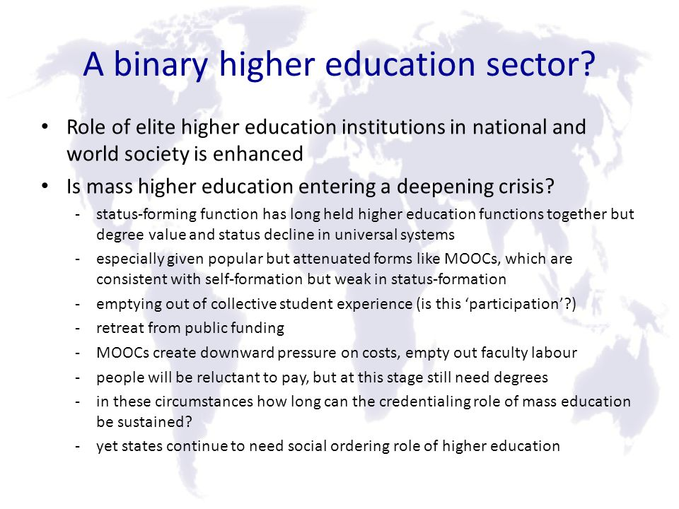 A binary higher education sector.