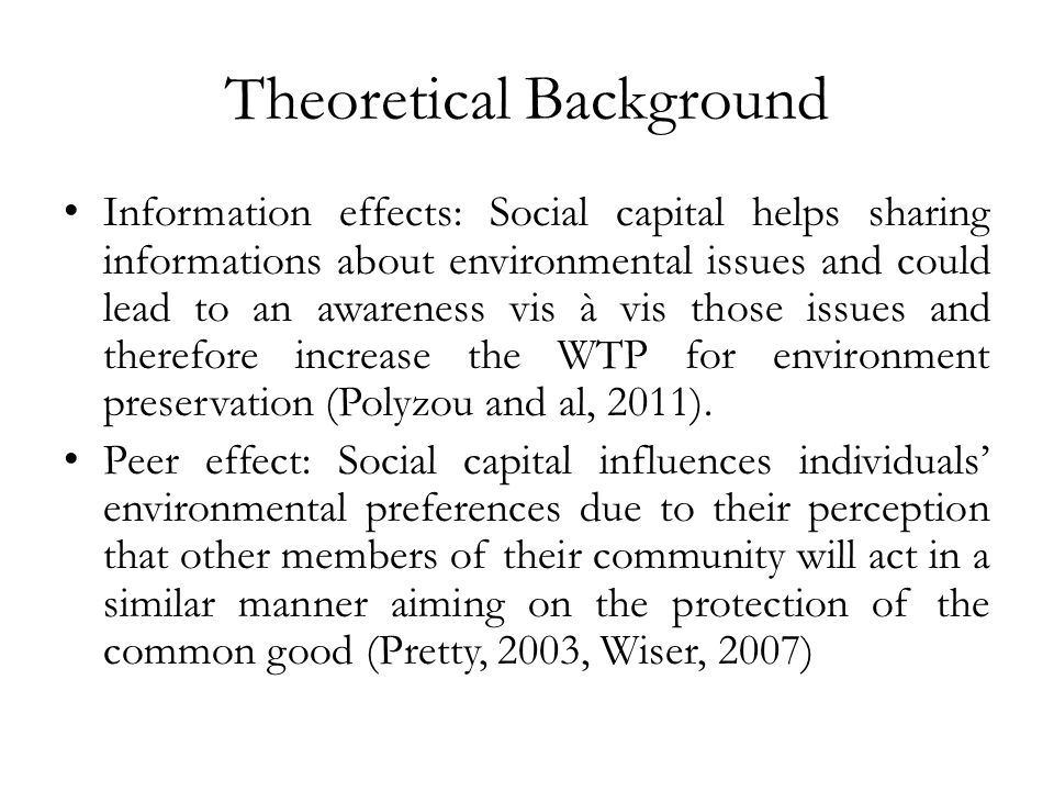 Social capital and the WTP data.