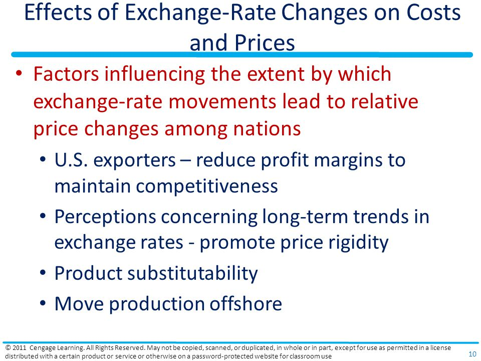 Effects of Exchange-Rate Changes on Costs and Prices Factors influencing the extent by which exchange-rate movements lead to relative price changes am