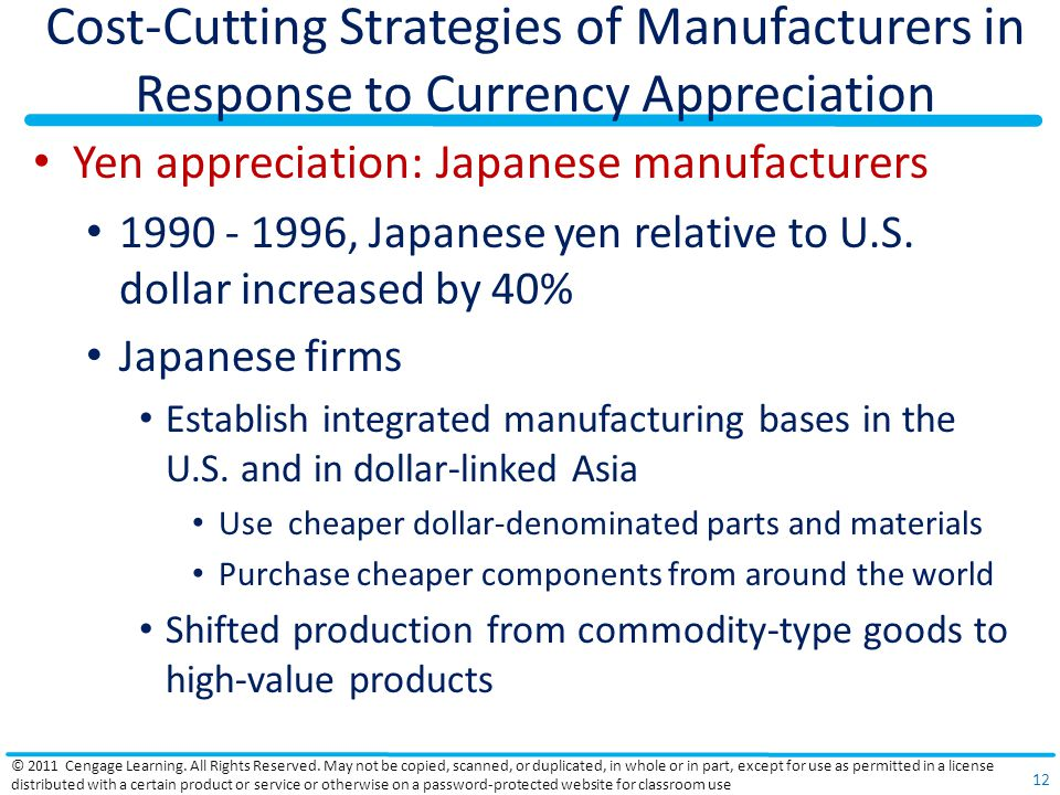 Cost-Cutting Strategies of Manufacturers in Response to Currency Appreciation Yen appreciation: Japanese manufacturers 1990 - 1996, Japanese yen relat