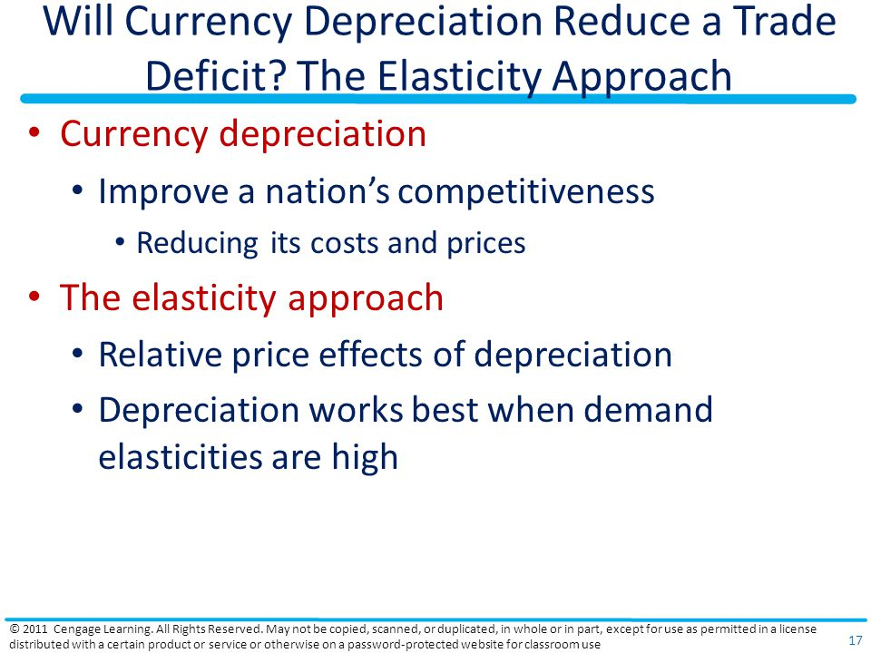 Will Currency Depreciation Reduce a Trade Deficit? The Elasticity Approach Currency depreciation Improve a nations competitiveness Reducing its costs
