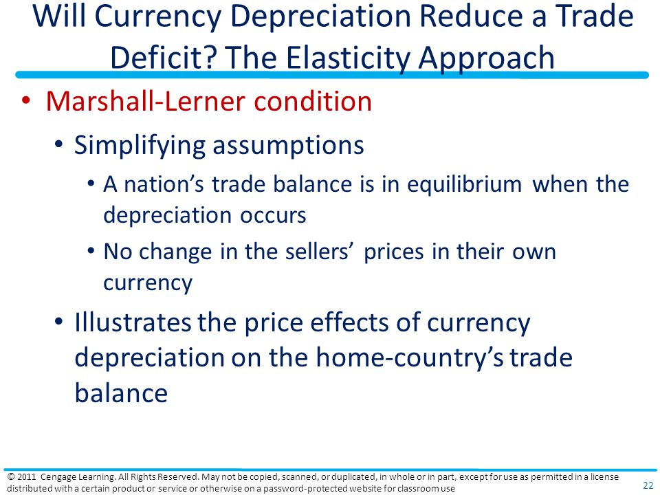 Will Currency Depreciation Reduce a Trade Deficit? The Elasticity Approach Marshall-Lerner condition Simplifying assumptions A nations trade balance i