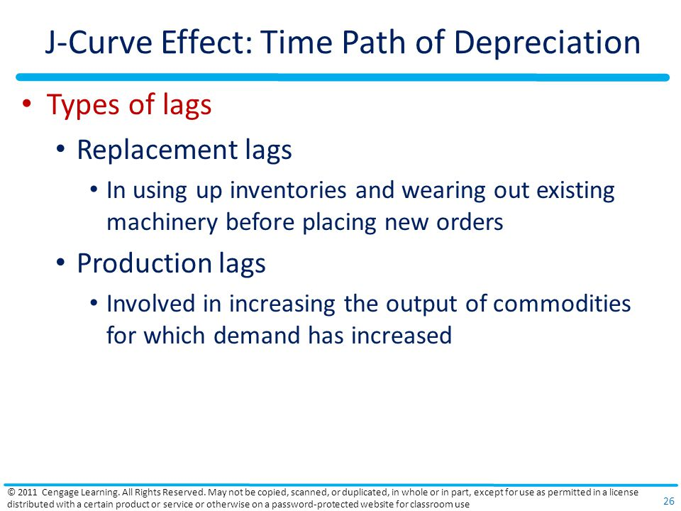 J-Curve Effect: Time Path of Depreciation Types of lags Replacement lags In using up inventories and wearing out existing machinery before placing new