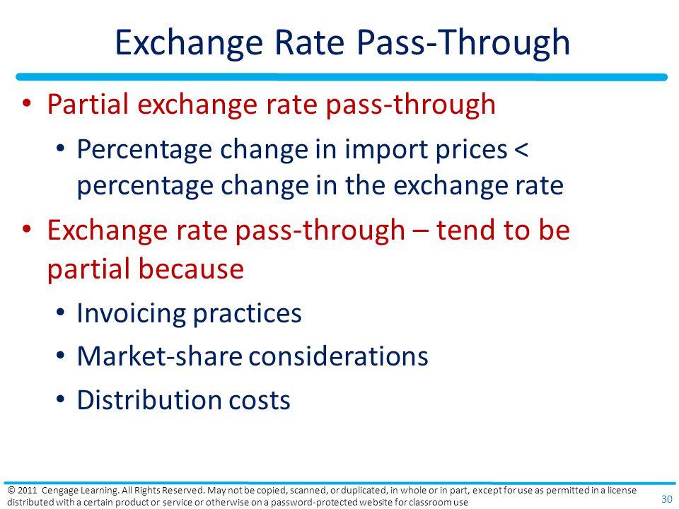 Exchange Rate Pass-Through Partial exchange rate pass-through Percentage change in import prices < percentage change in the exchange rate Exchange rat