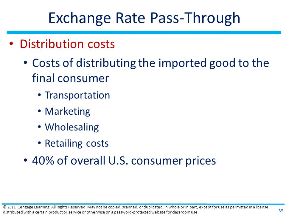 Exchange Rate Pass-Through Distribution costs Costs of distributing the imported good to the final consumer Transportation Marketing Wholesaling Retai