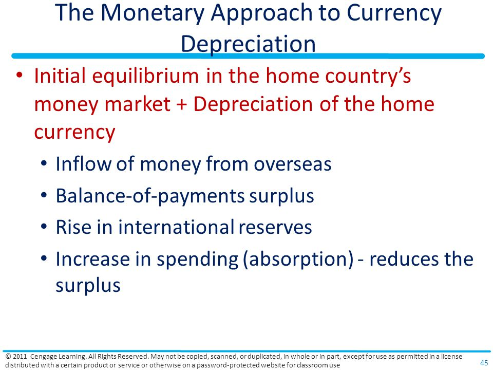 The Monetary Approach to Currency Depreciation Initial equilibrium in the home countrys money market + Depreciation of the home currency Inflow of mon
