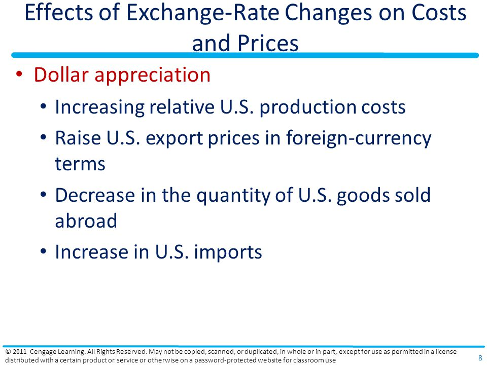 Effects of Exchange-Rate Changes on Costs and Prices Dollar appreciation Increasing relative U.S. production costs Raise U.S. export prices in foreign
