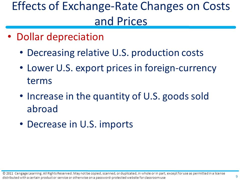 Effects of Exchange-Rate Changes on Costs and Prices Dollar depreciation Decreasing relative U.S. production costs Lower U.S. export prices in foreign