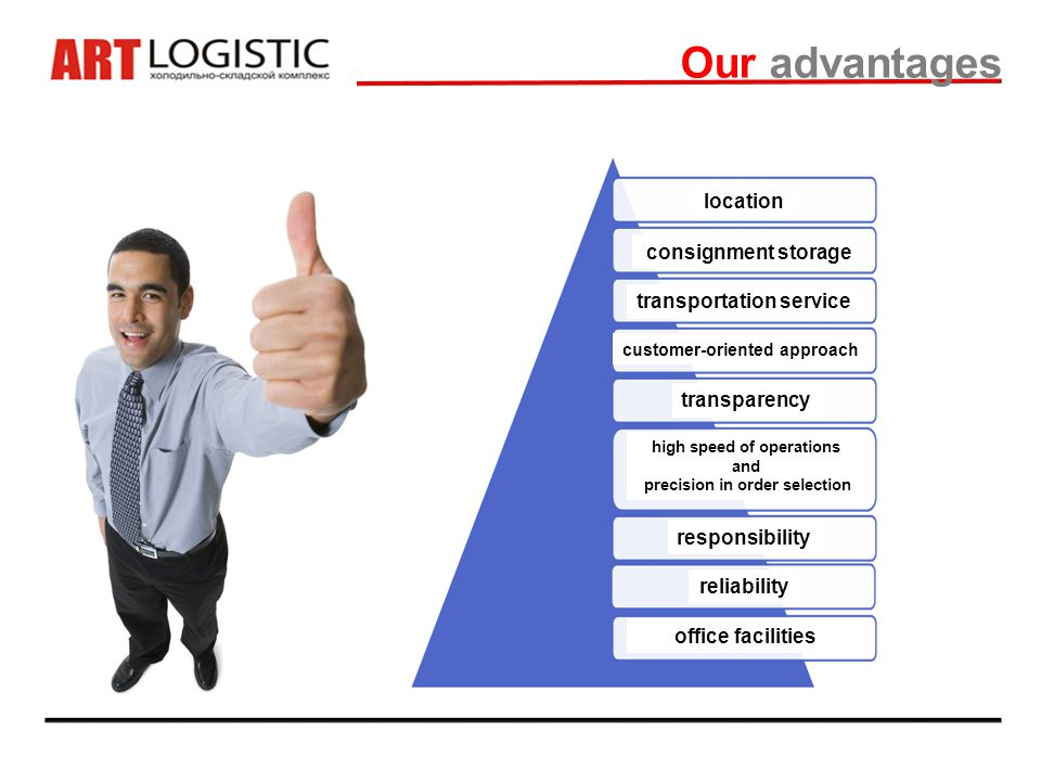 Our advantages location consignment storage transportation service transparency high speed of operations and precision in order selection responsibility reliability office facilities customer-oriented approach