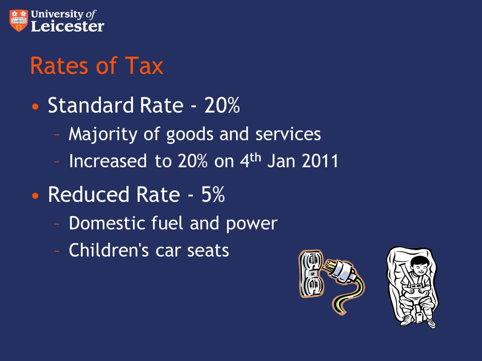 Rates of Tax Standard Rate - 20% –Majority of goods and services –Increased to 20% on 4 th Jan 2011 Reduced Rate - 5% –Domestic fuel and power –Childr
