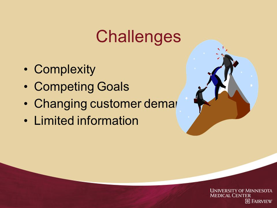 Challenges Complexity Competing Goals Changing customer demands Limited information
