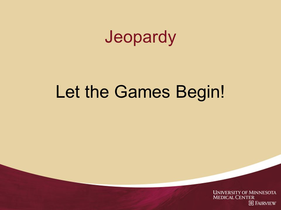 Jeopardy Let the Games Begin!