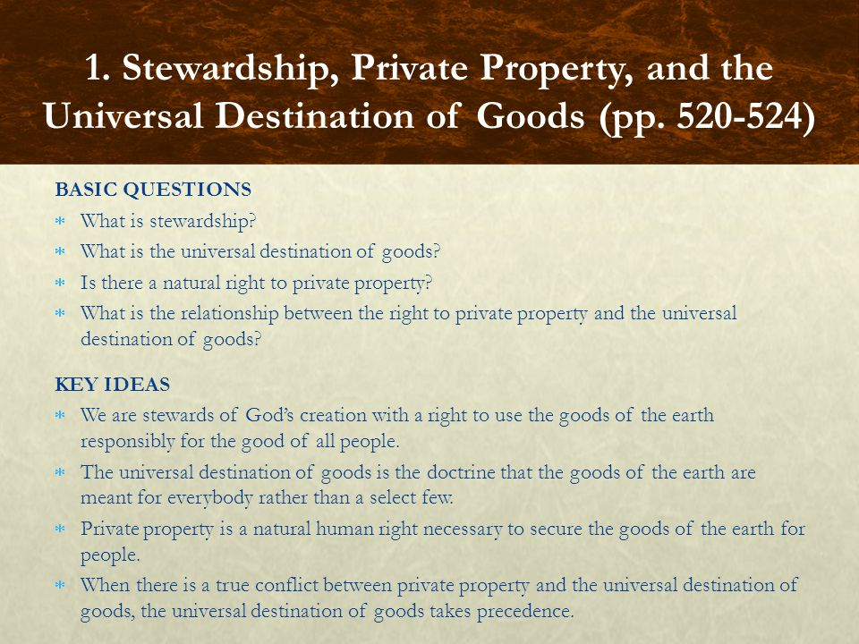 BASIC QUESTIONS What is stewardship. What is the universal destination of goods.