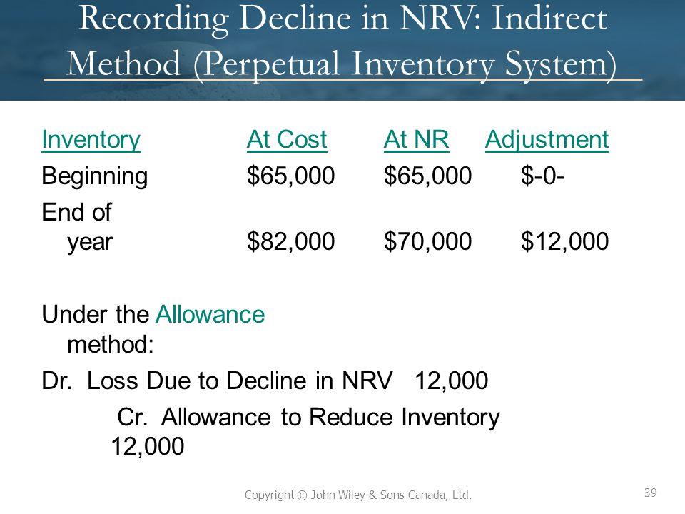 39 Copyright © John Wiley & Sons Canada, Ltd. Recording Decline in NRV: Indirect Method (Perpetual Inventory System) InventoryAt CostAt NR Adjustment