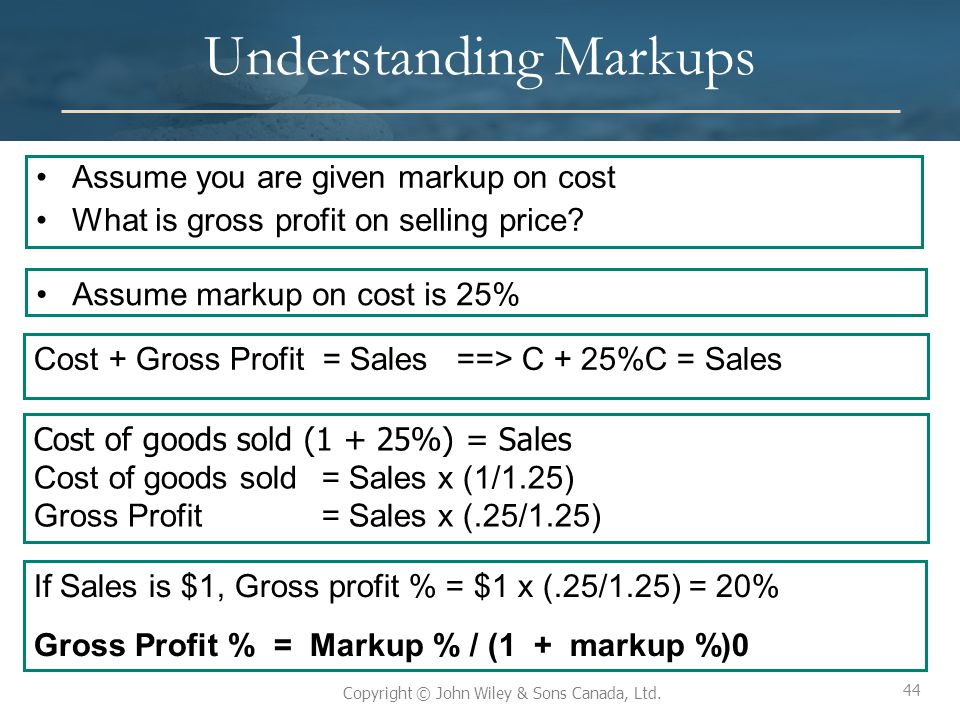 44 Copyright © John Wiley & Sons Canada, Ltd. Understanding Markups Assume markup on cost is 25% Cost + Gross Profit = Sales ==> C + 25%C = Sales Cost