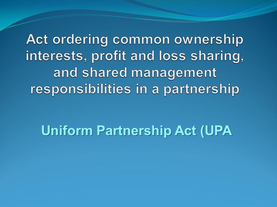 Uniform Partnership Act (UPA
