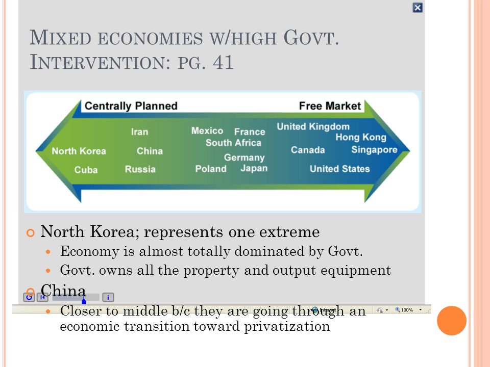 M IXED ECONOMIES W / HIGH G OVT. I NTERVENTION : PG. 41 North Korea; represents one extreme Economy is almost totally dominated by Govt. Govt. owns al