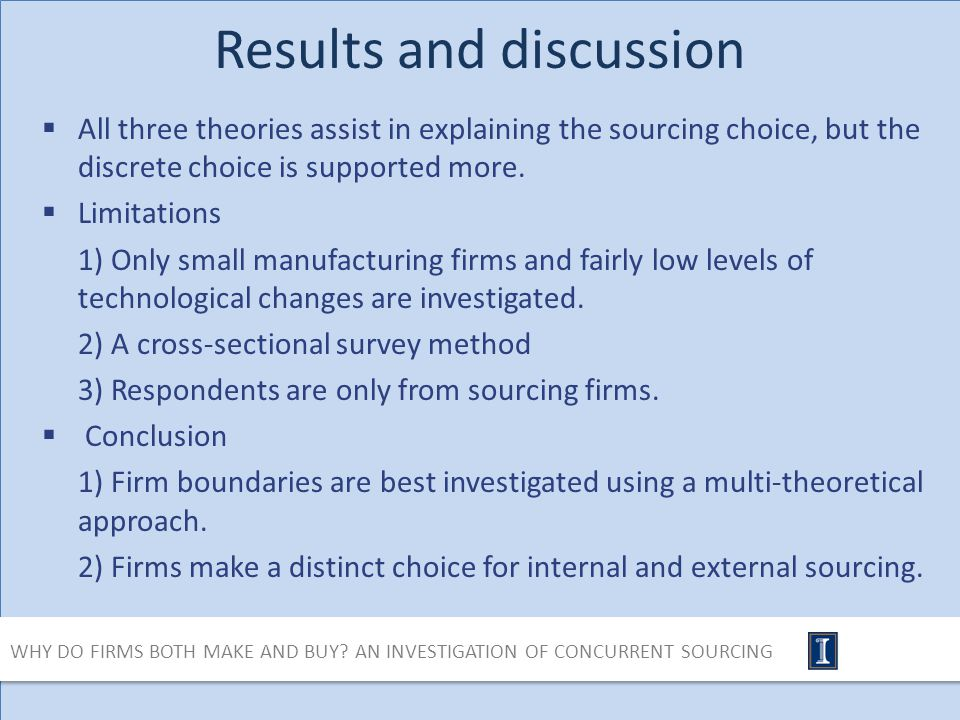 Results and discussion All three theories assist in explaining the sourcing choice, but the discrete choice is supported more.