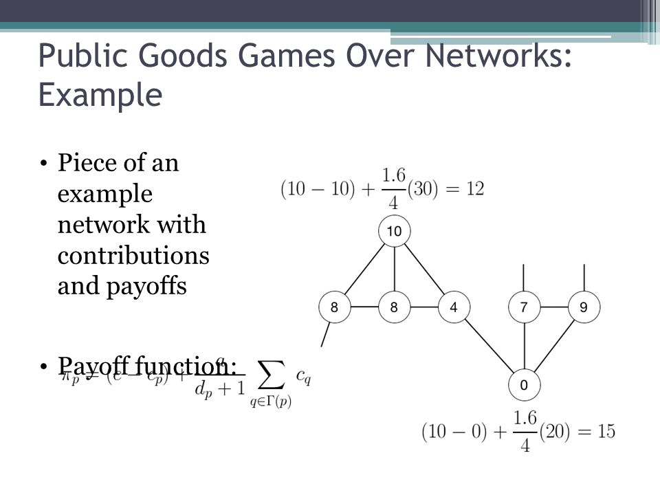 Public Goods Games Over Networks: Example 13 Piece of an example network with contributions and payoffs Payoff function: