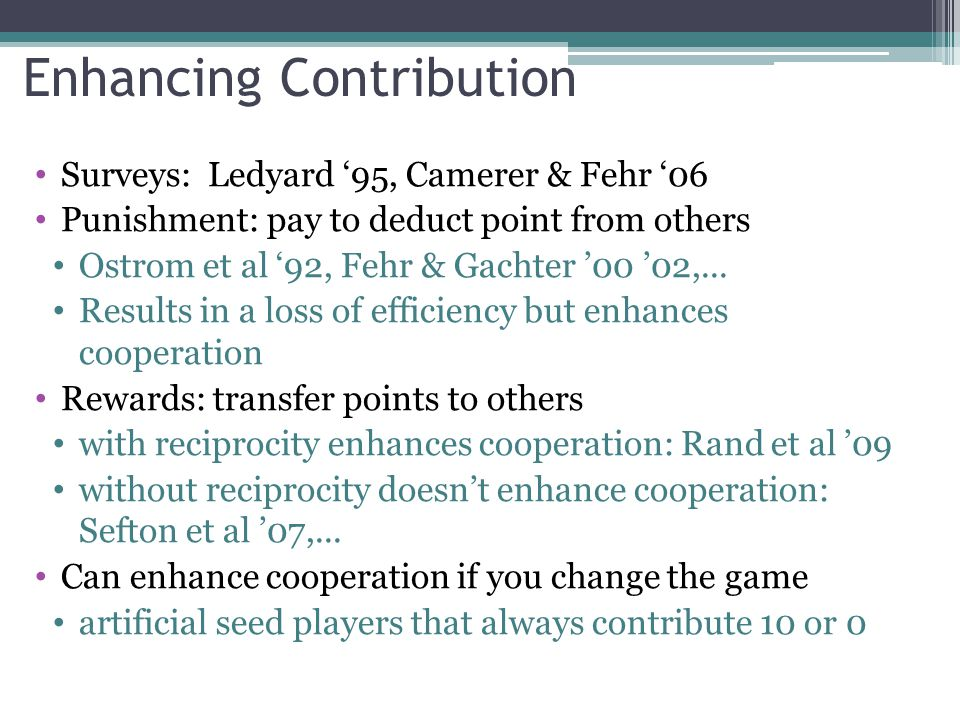 Enhancing Contribution Surveys: Ledyard 95, Camerer & Fehr 06 Punishment: pay to deduct point from others Ostrom et al 92, Fehr & Gachter 00 02,... Re