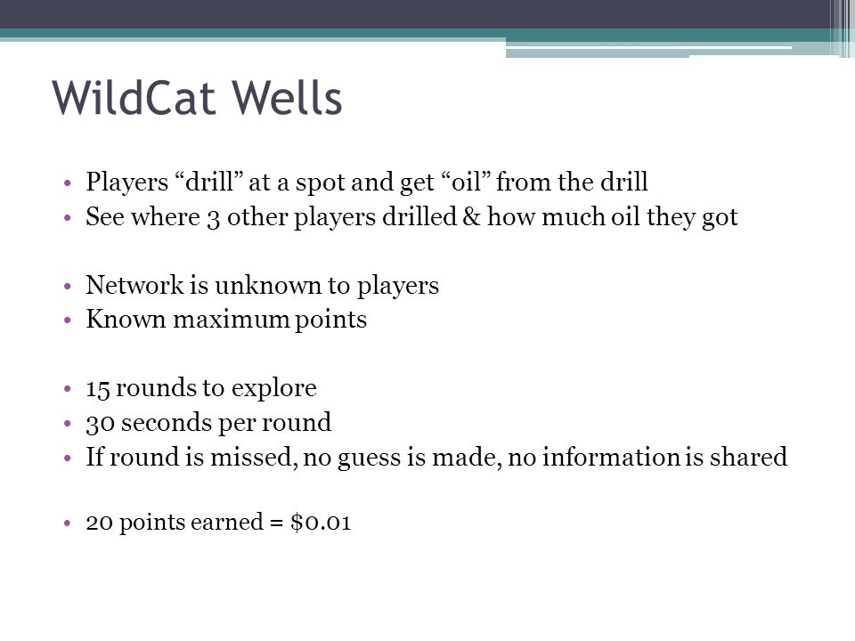 WildCat Wells Players drill at a spot and get oil from the drill See where 3 other players drilled & how much oil they got Network is unknown to playe