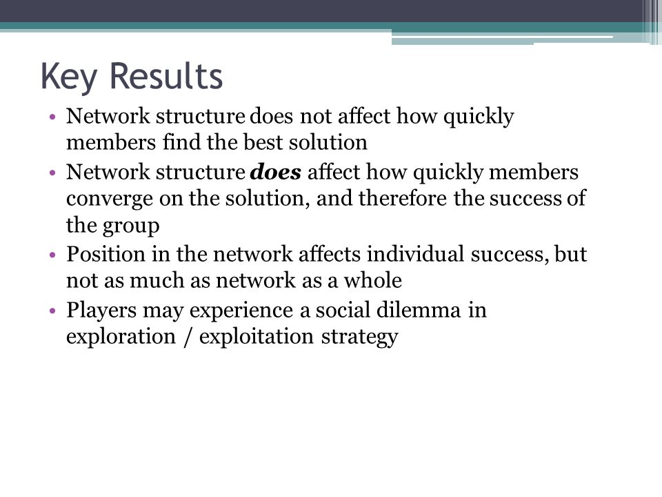 Key Results Network structure does not affect how quickly members find the best solution Network structure does affect how quickly members converge on
