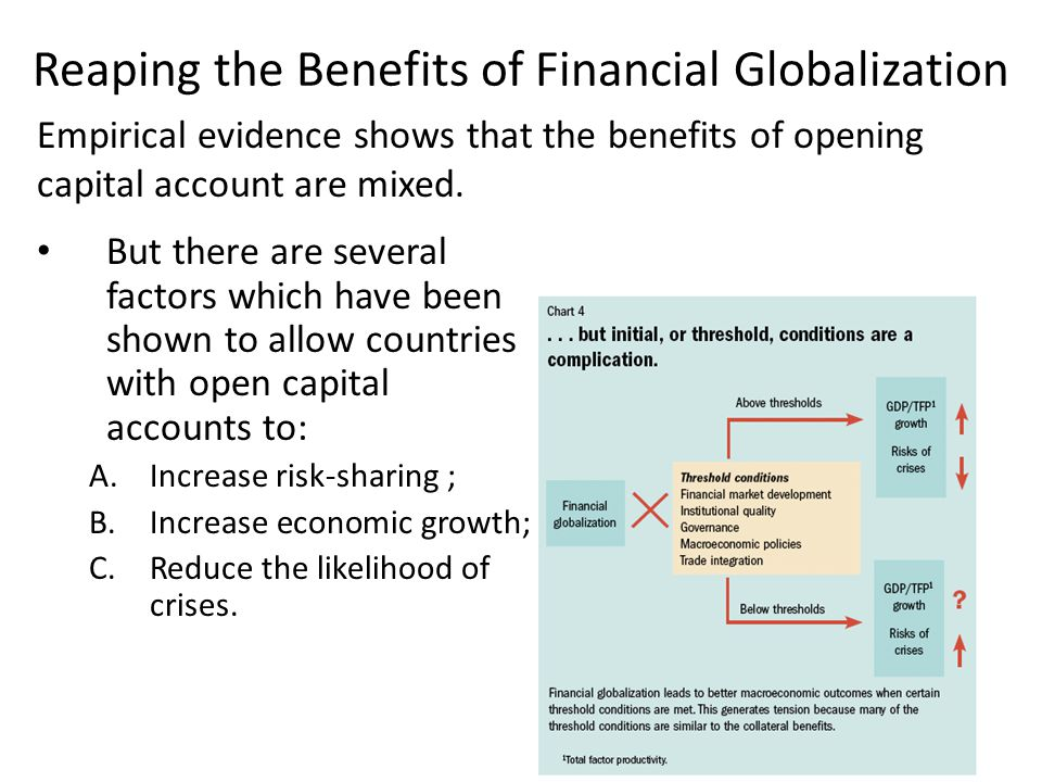 Reaping the Benefits of Financial Globalization But there are several factors which have been shown to allow countries with open capital accounts to: