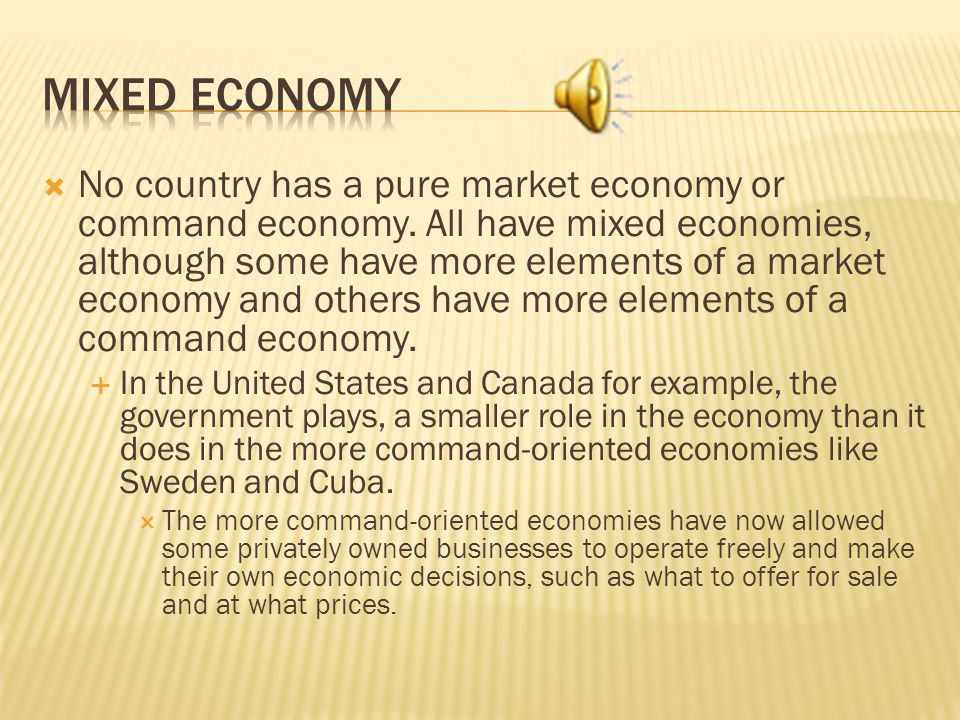 No country has a pure market economy or command economy.