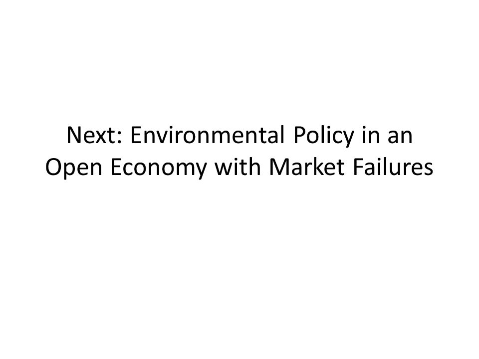Next: Environmental Policy in an Open Economy with Market Failures