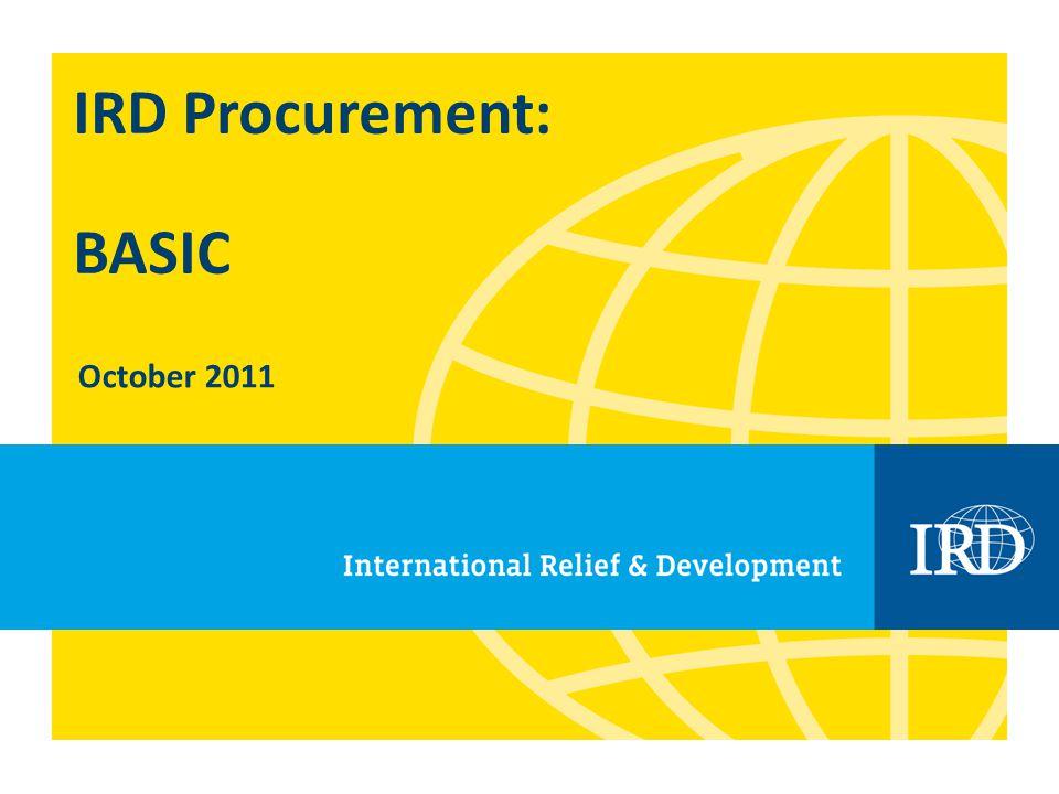 IRD Procurement: BASIC October 2011