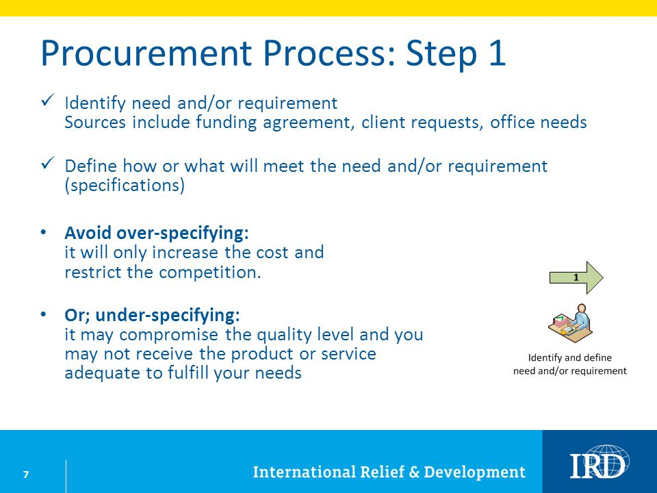 7 Procurement Process: Step 1 Identify need and/or requirement Sources include funding agreement, client requests, office needs Define how or what wil