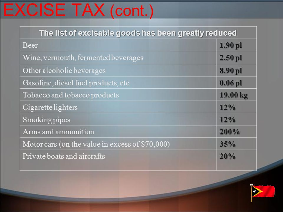 EXCISE TAX (cont.) The list of excisable goods has been greatly reduced Beer 1.90 pl Wine, vermouth, fermented beverages 2.50 pl Other alcoholic beverages 8.90 pl Gasoline, diesel fuel products, etc 0.06 pl Tobacco and tobacco products 19.00 kg Cigarette lighters12% Smoking pipes12% Arms and ammunition200% Motor cars (on the value in excess of $70,000)35% Private boats and aircrafts20%