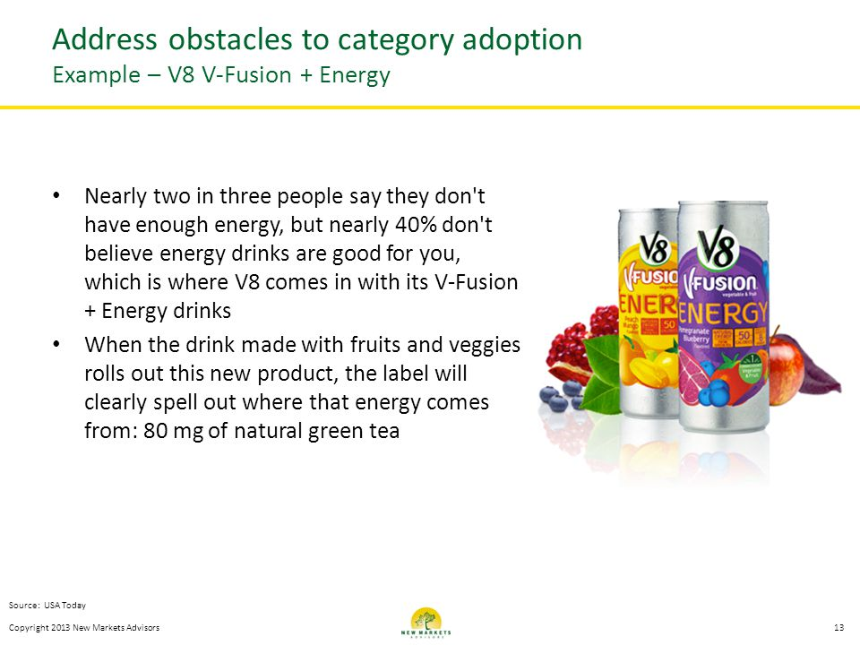 Nearly two in three people say they don t have enough energy, but nearly 40% don t believe energy drinks are good for you, which is where V8 comes in with its V-Fusion + Energy drinks When the drink made with fruits and veggies rolls out this new product, the label will clearly spell out where that energy comes from: 80 mg of natural green tea Copyright 2013 New Markets Advisors13 Address obstacles to category adoption Example – V8 V-Fusion + Energy Source: USA Today