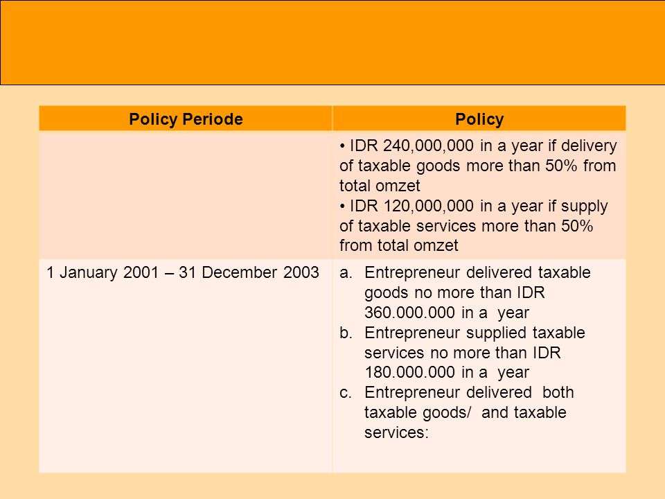 Policy PeriodePolicy IDR 240,000,000 in a year if delivery of taxable goods more than 50% from total omzet IDR 120,000,000 in a year if supply of taxable services more than 50% from total omzet 1 January 2001 – 31 December 2003a.Entrepreneur delivered taxable goods no more than IDR in a year b.Entrepreneur supplied taxable services no more than IDR in a year c.Entrepreneur delivered both taxable goods/ and taxable services:
