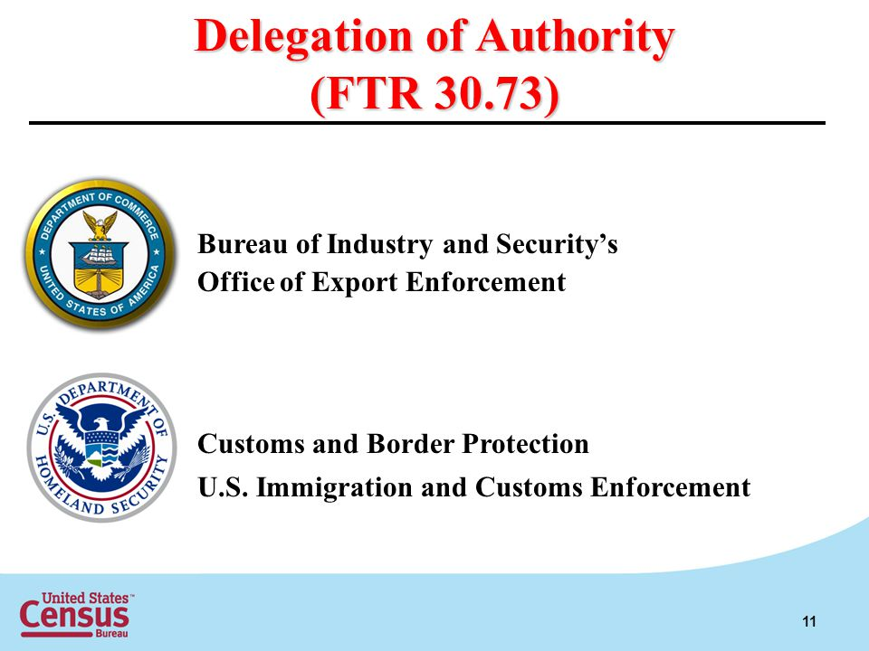 Delegation of Authority (FTR 30.73) Bureau of Industry and Securitys Office of Export Enforcement Customs and Border Protection U.S. Immigration and C