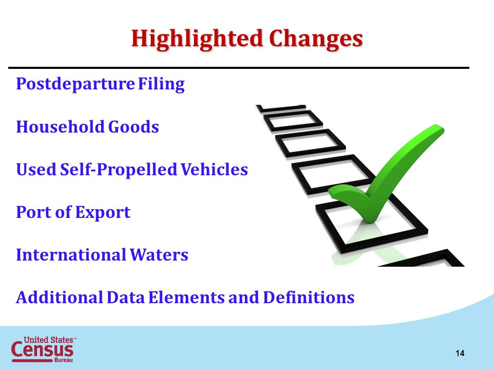 Highlighted Changes Postdeparture Filing Household Goods Used Self-Propelled Vehicles Port of Export International Waters Additional Data Elements and