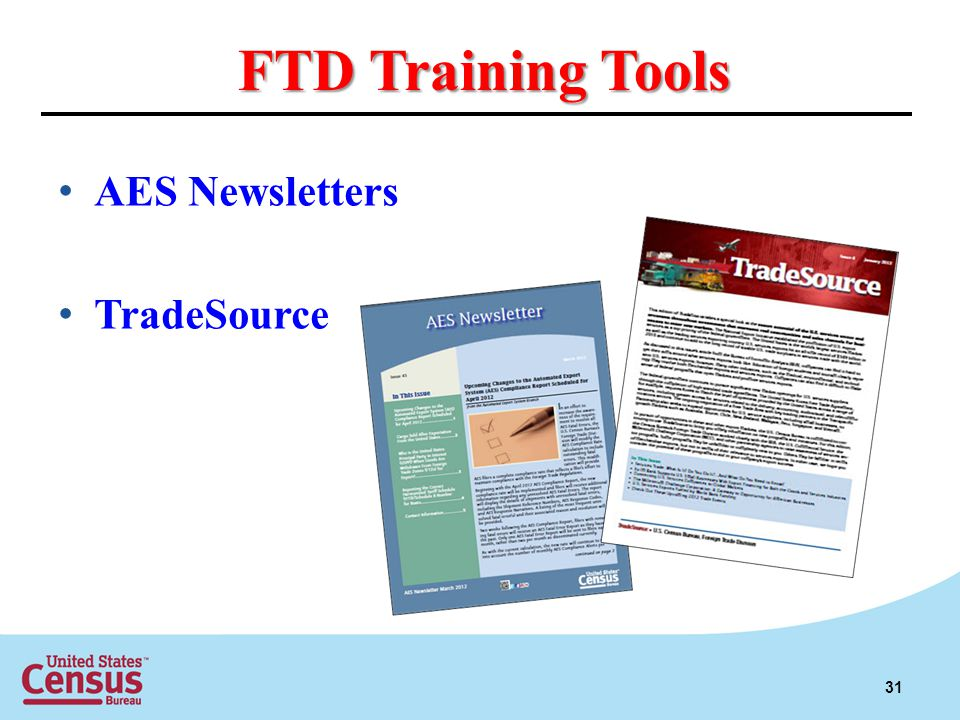 FTD Training Tools AES Newsletters TradeSource 31