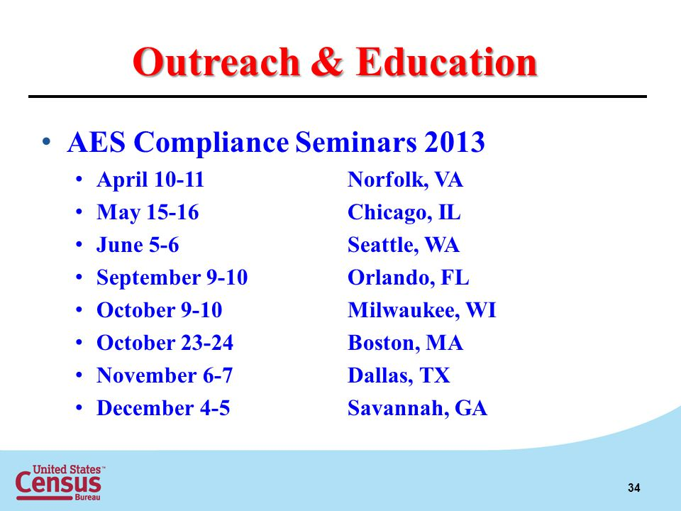 Outreach & Education AES Compliance Seminars 2013 April 10-11Norfolk, VA May 15-16Chicago, IL June 5-6Seattle, WA September 9-10Orlando, FL October 9-